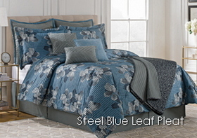 Steel Blue Pleated Leaf Scroll
