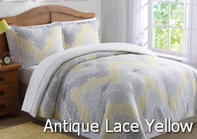 Antique Lace Chevron Gray Yellow Comforter