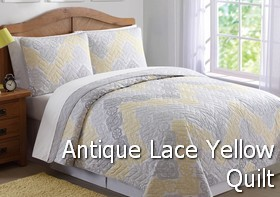 Antique Lace Chevron Gray Yellow Quilt
