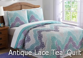 Antique Lace Chevron Purple Teal Quilt