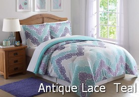 Antique Lace Chevron Purple Teal Comforter