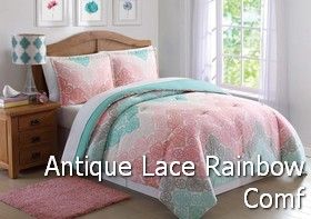 Antique Lace Chevron Rainbow Comforter