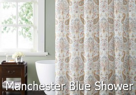 Style 212 Manchester Blue Shower Curtain