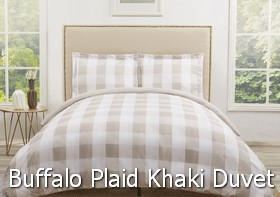Truly Soft Everyday Buffalo Plaid Khaki Duvet Sets