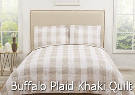 Truly Soft Everyday Buffalo Plaid Khaki Quilt Sets