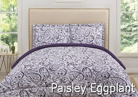 Truly Soft Watercolor Paisley Eggplant Comforters