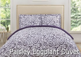 Truly Soft Watercolor Paisley Eggplant Duvet Sets