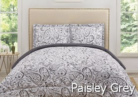 Truly Soft Watercolor Paisley Grey Comforter Sets