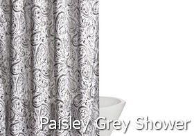 Truly Soft Watercolor Paisley Grey Shower Curtain