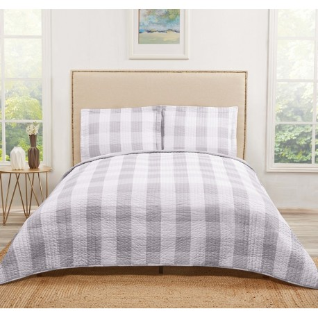 Truly Soft Everyday Buffalo Plaid Grey Quilt Sets